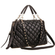 MIZU Black Trendy Diamond Quilted Versatile Studded Straps Office Tote Hobo Top Double Handle Satchel Handbag Purse Shoulder Bag by MyGift