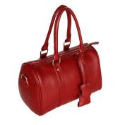 [Wine-colored Red] Elegant Double Handle Leatherette Handbag Shoulder Bag Satchel Bag