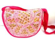 Boho Cotton Handbag, Indian Shoulder Bag Pink Purse Mirrors -Handmade