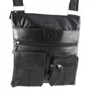 Black Nappa Leather Flat Satchel Shoulder Bag Purse