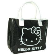 HELLO KITTY CAMOMILLA SEQUINS LUXURY LARGE LADIES SHOULDER TOTE HAND BAG BLACK