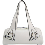 Dasein Dasein Sleek Classic Shoulder Bag w/ Ring Accents -White