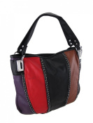 Multicolored Striped Shoulder Bag with Rhinestone Accents