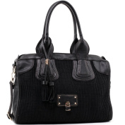 Dasein Women's Classic Faux Leather Shoulder Bag w/ Textured Front & Tassel -Black