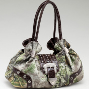 Realtree ? Camouflage Shoulder Bag W / Rhinestone Buckle Accent - Camo / Coffee