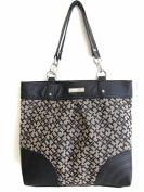 Tommy Hilfiger Signature Logo Chain Large Tote Handbag, Black/Alpaca