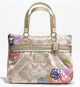Coach Daisy Applique Multicolor Tote Bag Purse Khaki Sateen 20794