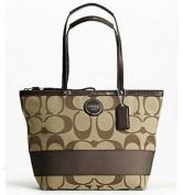 Coach Signature Stripe Shopper Bag Tote Khaki Mahogany - Coach 17433KHA