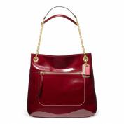 Coach Poppy Patent Leather Slim Tote Handbag Purse Crimson Red 21583