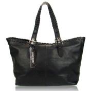 POPCORN MILANO Italian Made Black Leather Designer Shopper Tote Bag