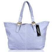 POPCORN MILANO Italian Made Light Blue Leather Designer Shopper Tote Bag