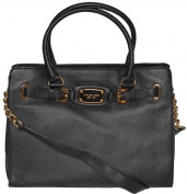 Michael Kors Black Leather Hamilton Large EW Tote Handbag Shoulder Bag