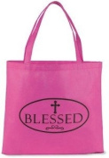 """Womens 33cm Magenta Pink """"Blessed"""" w Budded Cross Recycled Nylon Purse Tote Bag"""