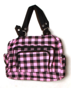 Clover Tote Pockets Style Hand Bag - Checkered Pink Black With Britain Flag Tag