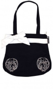 Black Canvas Tote Purse with White Bow and Cowgirl Embroidery from Sourpuss Clothing