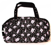 Clover Two Front Pocket Hand Bag - Black, Cute White Skull and Stars Pattern