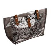 [Lucky Gray] Leopard Double Handle Leatherette Satchel Bag Handbag Purse Casual Styling