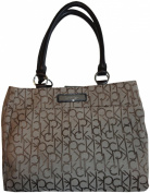 Women's Calvin Klein Purse Handbag Signature Logo Tote Khaki/Brown