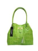 POPCORN MILANO Italian Made Designer Tote in Green Crocodile Embossed Leather