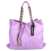 POPCORN MILANO Italian Made Lilac Leather Oversized Tote Bag with Chain Handles