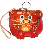 Handmade Leather Wristlet Purse, a Brown Tiger Face on the Cover, Zipper Closure.