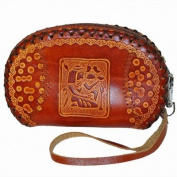 Leather Wristlet Change Purse/wallet, Hand-made and Endearing Pattern Embossed. Lovely Brown -2