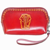 Genuine Leather Wristlet Change Purse, Red Elephant Pattern Embossed, Truly Handmade.