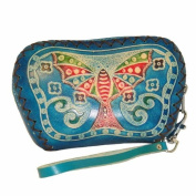 Designer Genuine Leather Wristlet Purse, Blue Base with Butterfly and Flower Pattern