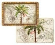 West Indian Palm Trees Reversible Washable Placemats Set of Four