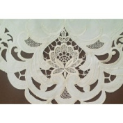 91.4cm Square or Table Topper Embroidered on Ivory Material with Ivory Embroidery and Lace Insets