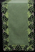 Table Runner (Large) in Green Balmoral Thistle Design. Beautifully embroidered table linen to grace your dining table at Hogmanay, Burns Night, St Andrew's Day, or to dress the tables at your Scottish Wedding, Engagement Party or other Sco ..