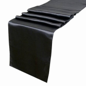 OurWarm Black Satin Table Runner 30.5cm x 274.3cm (Inch) Wedding Party Table Decoration