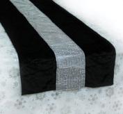 172.7cm Black and Silver Velvet Bejewelled Christmas Table Runner