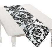 Black and White Elegant Flocked Design Table Runner