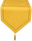 Xia Home Fashions Melrose Easy Care Cutwork Hemstitch 38.1cm by 182.9cm Table Runner, Gold