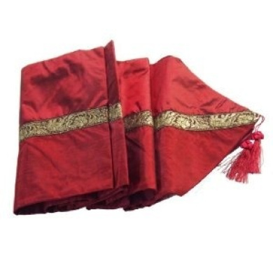 Red with Elephant Table / Bed Runner Thai Silk