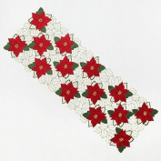 St Nicholas Square Poinsettia Cut-Out Table Runner Embroidered Christmas 13x36