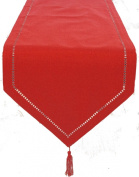 Xia Home Fashions 38.1cm by 182.9cm Melrose Easy Care Cutwork Hemstitch Table Runner, Red