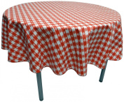 Phoenix Cafe Cheque Vinyl Tablecloth, 132.1cm Inch Round Cut, Red and White