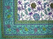 Floral Print Tablecloth-Spread-Versatility in Home Decor-Sea Green-152.4cm x 223.5cm