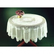 CREAM HEAVY LACE TABLE CLOTH TABLE TOPPER 152.4cm ROUND