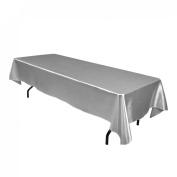 152.4cm x 320cm . Rectangular Satin Tablecloth Silver