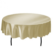 LinenTablecloth 180cm Round Satin Tablecloth Beige