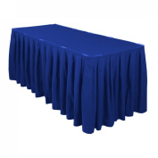 4.27m Accordion Pleat Polyester Table Skirt Royal Blue