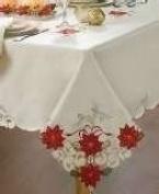 Homewear Sam Hedaya Table Linens, Holiday Joy 152.4cm X 213.4cm Ivory Satin Oblong Tablecloth