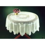 CREAM HEAVY LACE TABLE CLOTH TABLE TOPPER 182.9cm ROUND