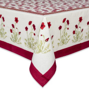 Couleur Nature Poppies Tablecloth, 149.9cm by 218.4cm , Red/Green