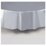Silver Plastic Table Cover Round