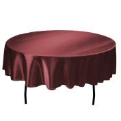 LinenTablecloth 180cm Round Satin Tablecloth Burgundy