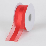 Red Organza Ribbon Satin Centre 1.6cm 25 Yards